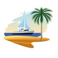 cartone animato riva della barca a vela vettore