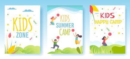 Stampa Volantino Schede multimediali Set di storie sociali Camp vettore