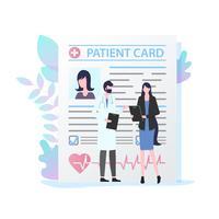 Medico maschio con la carta paziente femminile dello stetoscopio