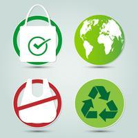 Ecologia e icone del mondo di risparmio ambientale vettore