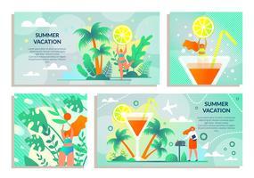 Set adesivo con iscrizione vacanze estive vettore