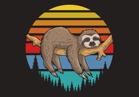 pigro bradipo sul ramo con tramonto retrò vettore