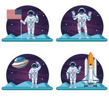 Serie di scenari di astronauti e galassie vettore