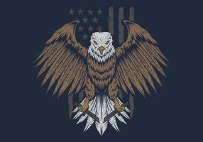 Aquila davanti all'illustrazione di vettore della bandiera degli SUA