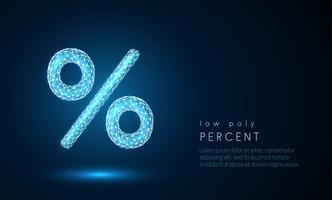 Segno di percentuale astratto. Design in stile poli basso. vettore