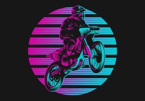 Retro illustrazione di vettore di tramonto di motocross