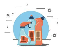 Prodotti per la pulizia dei cartoni domestici vettore