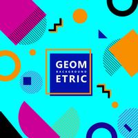 Sfondo blu hipster di forme geometriche alla moda memphis