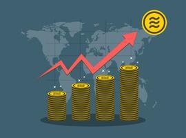 Grafico di crescita di concetto della moneta della Bilancia sulla mappa di mondo