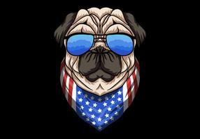 Pug Dog con gli occhiali