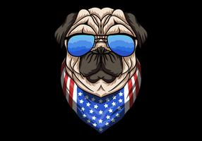 Pug Dog con gli occhiali vettore
