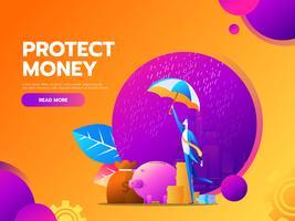 Concetto di protezione del denaro vettore