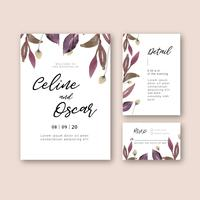 Carta dell'invito del giardino floreale della partecipazione di nozze