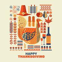 Felice insieme di elementi del ringraziamento