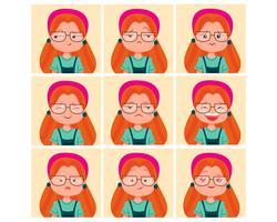 Set di caratteri di ragazza divertente