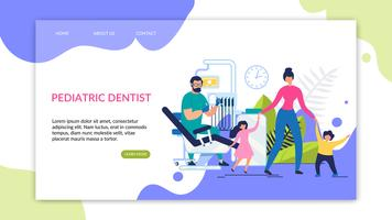 Dentista pediatrico con iscrizione al volantino informativo vettore