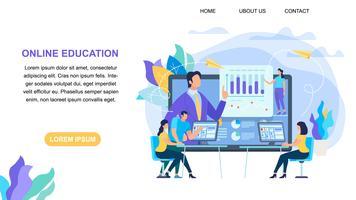 Insegna orizzontale di istruzione online con lo spazio della copia
