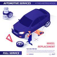 Banner per servizio di sostituzione ruote pubblicitarie vettore