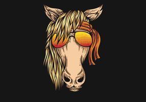 cavallo che indossa occhiali da vista e bandana vettore