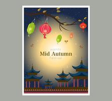 Chuseok cinese lanterna banner design
