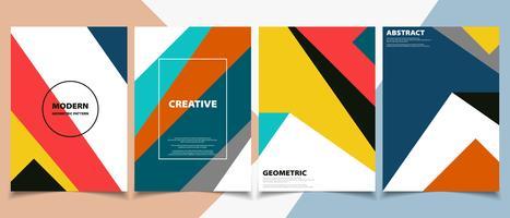Opuscolo moderno colorato nel set di motivi geometrici vettore