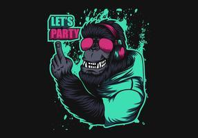 gorilla indossando le cuffie vettore