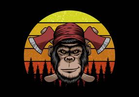 boscaiolo di scimmia davanti al tramonto retrò