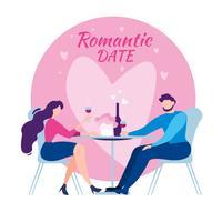 Data romantica della cena della Tabella del caffè della donna dell'uomo vettore