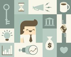 Uomo d'affari e relative icone di affari
