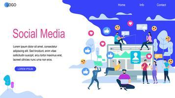 Insegna orizzontale di media sociali con lo spazio della copia