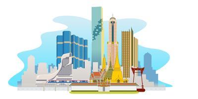 Panorama di megalopoli di Bangkok vettore