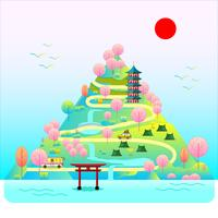 Tempio del Giappone nella montagna vettore