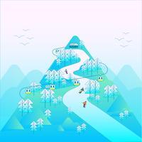 Sciare in montagna in inverno vettore
