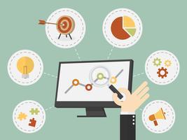 Schermo del computer e schermo d'ingrandimento della mano con le icone di affari