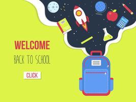 Di nuovo al modello del manifesto della scuola, illustrazione di vettore