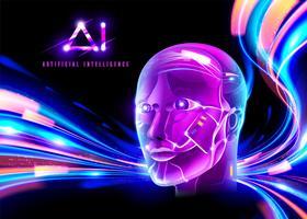 Tecnologia AI Cyberpunk vettore