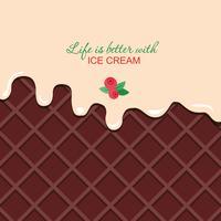 Crema di vaniglia fusa su sfondo di wafer al cioccolato con testo di esempio.