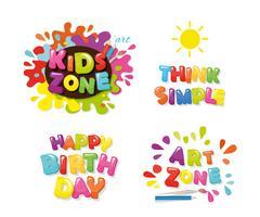 Design carino per i bambini. Art zone, buon compleanno, pensa in modo semplice. Lettere colorate di cartone animato Vettore.
