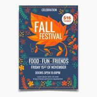 Modello di volantino o poster Festival autunno. elementi colorati creativi delle foglie di acero con floreale vettore
