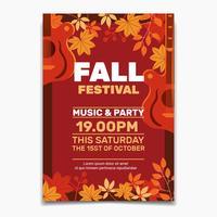 Modello di volantino o poster Festival autunno. Design per invito o poster di celebrazione delle vacanze autunnali