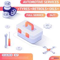 Insegna di pubblicità del negozio degli strumenti di servizio automobilistico vettore
