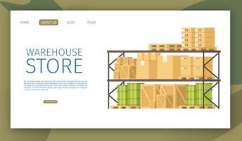 Pagina Web di archiviazione del magazzino