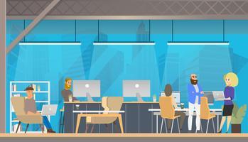 Studia nella moderna area di coworking