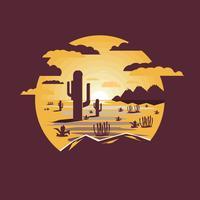 Abbandoni il paesaggio con il cactus e le montagne del saguaro vettore
