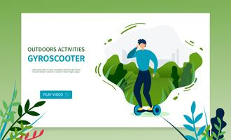 Cavalcando una pagina di destinazione Gyroscooter vettore