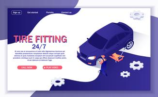 Pagina di destinazione del montaggio dei pneumatici vettore