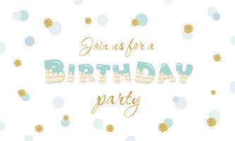 Invito festa di compleanno su sfondo festivo a pois con glitter vettore