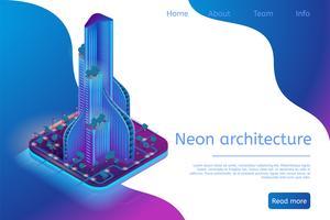 Architettura al neon che costruisce Smart Metropolis moderna
