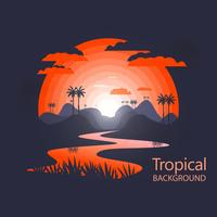 Caldo paesaggio tropicale vettore