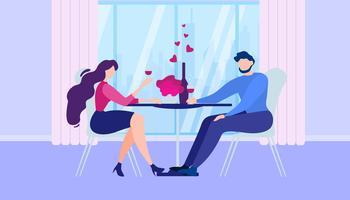 Cena romantica a casa vettore